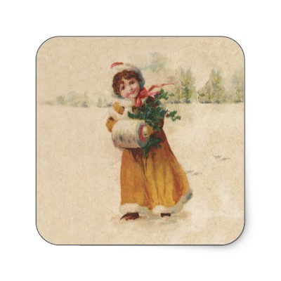 vintage_snow_child_in_yellow_coat_square_sticker-p217245853675582102bah05_400